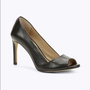 Ann Taylor Black Evie Leather Peeptoe Heels